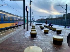 Sneeuw op het station