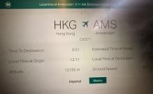 Vluchtgegevens 51 miinuten voor de landing