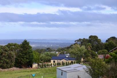 Over de Port Phillip Bay vanuit het huis van Anne en Jeff