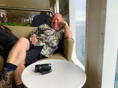 Frans op de veerboot (voor het alarm afging)