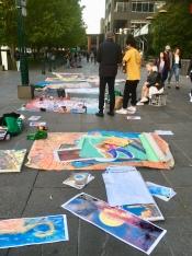 Straatartiesten op Southbank aan de Yarra River