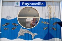 Het wachthuisje bij de veerboot van Pynesville naar Rainman Island