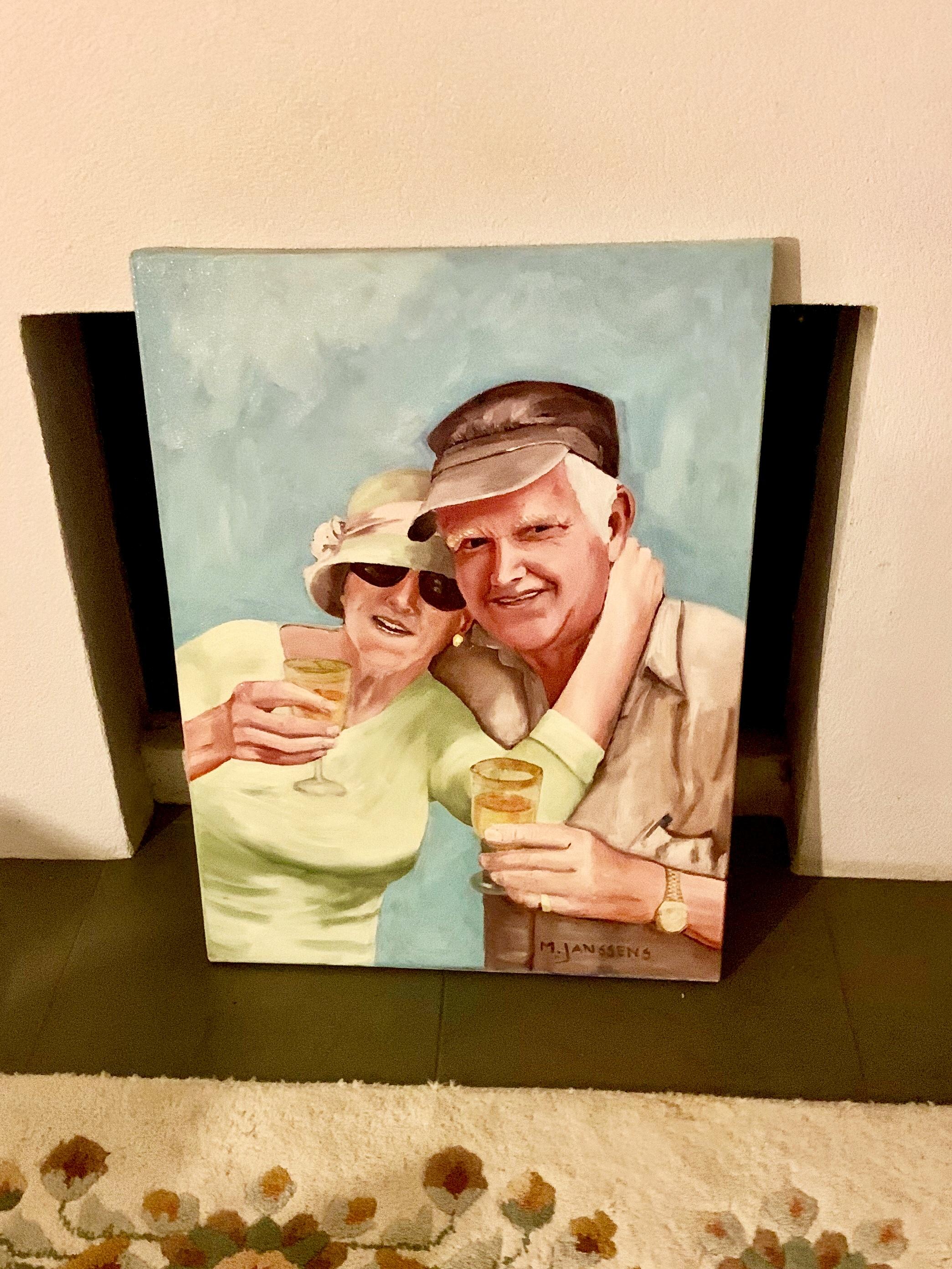 Het is gelukt! Het schilderij van Hans en Gwen is heel aangekomen op zijn bestemming!