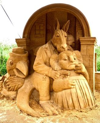 Zandsculptuur Kookaburra, Kangaroo, Koala