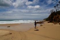 Hans op het strand van Mallacoota